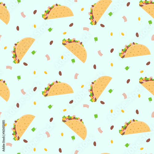 Fotografie, Obraz  Cute cartoon colorful seamless pattern with mexican tacos, corn, lettuce and kidney bean