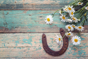 Rustic background with rusty horseshoe and bouquet of daisies on old wooden boards. Copy space.
