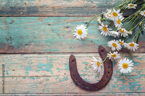 Stampa su Tela Rustic background with rusty horseshoe and bouquet of daisies on old wooden boards