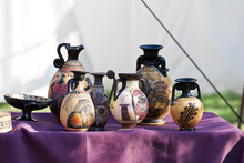Reconstruction Of Celtic Ceramic Vases Jar Decorated And Painted In Italian Historical Reconstruction Celtic Monterenzio