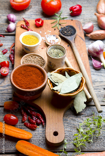 Aluminium Prints Picnic Spices and vegetables on wooden board