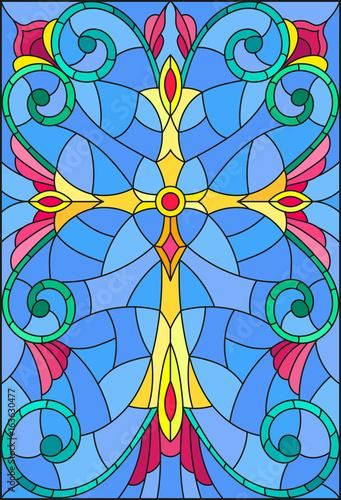 ilustracja-w-witrazu-stylu-z-zoltym-krzyzem-na-purpurowym-tle-z