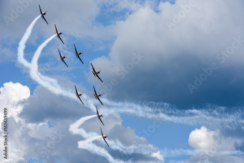 obraz lub plakat Air show of Swiss acrobatic fly team at Lugano