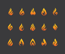 Set Of Fire Flame Icons And Logo Isolated On Black Background.