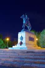 Monument To The Orenburg Cossacks / Photo Taken In Russia, In The City Of Orenburg, At Night