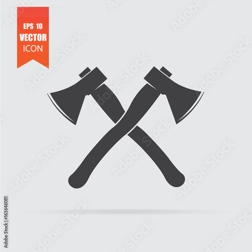 Lumberjack axes crossed icon in flat style isolated on grey background Canvas Print