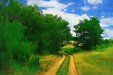 Obraz Summer landscape paintings, oil digital art, watercolor