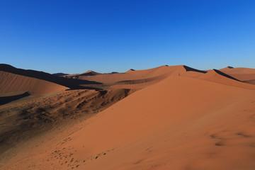 Fototapeta na wymiar Man  on sand dune in desert during sunrise.  Sossusvlei, Namib Naukluft National Park, Namibia