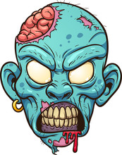 Cartoon Zombie Head. Vector Cl...