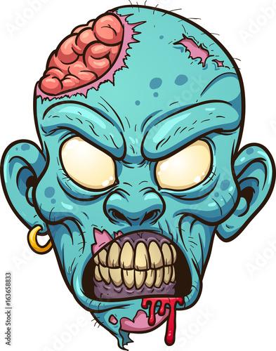 Cartoon zombie head Slika na platnu