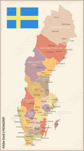 Sweden - vintage map and flag - illustration Wallpaper Mural