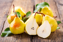 Fresh Pears With Leaves