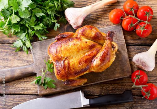Fotobehang Kip whole roasted chicken
