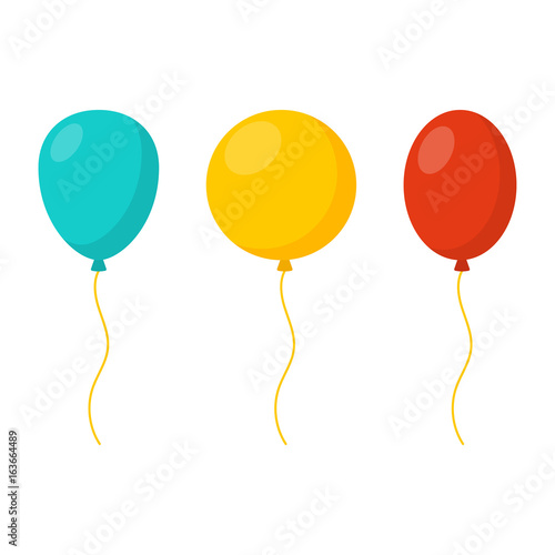 Photo  Blue, yellow and red balloons in cartoon flat style isolated on white background