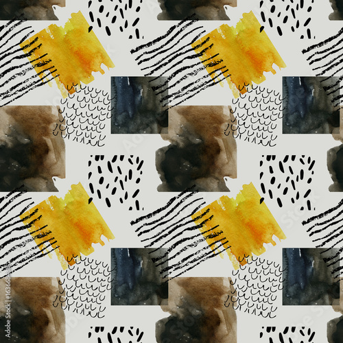Poster Graphic Prints Abstract seamless pattern with watercolor squares in autumn colors.