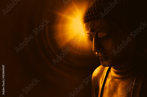 Leinwand Poster buddha with light of wisdom, peacful asian buddha zen tao religion art style statue