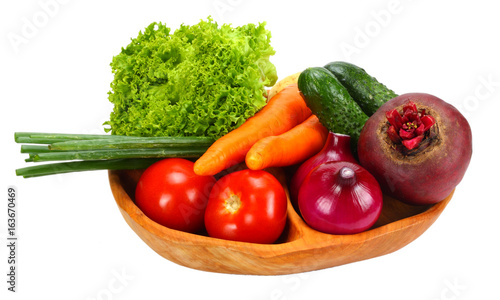 Fototapety, obrazy: Assortment of fresh raw vegetables isolated on white background. Tomato, cucumber, onion, salad, carrot, beetroot, potato