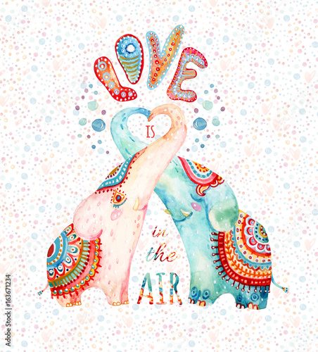 Photo Watercolor pair of lovely elephants on subtle background with bubbles, dots, hearts
