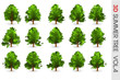 3D Summer set Tree collection object isolated on white volume 4