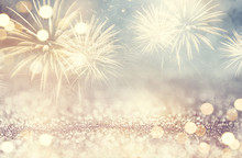Vintage Fireworks And Bokeh In New Year Eve And Space For Text. Abstract Background Holiday.