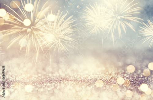 Vintage Fireworks and bokeh in New Year eve and space for text Canvas Print