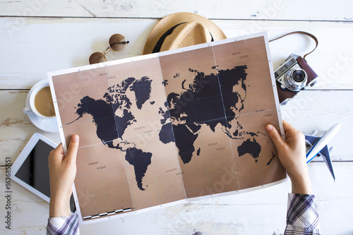 Travel planning concept on map - fototapety na wymiar