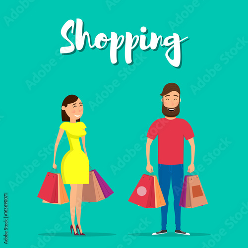 9491e51f3f0 Happy couple with shopping. Happy man and woman holding shopping ...