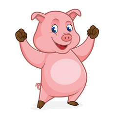 Pig cartoon feeling happy