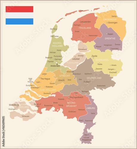 Photo  Netherlands - vintage map and flag - illustration