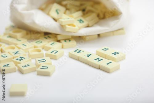 Poster  BR-Wahl, Betriebsratswahl, Spielsteine mit Text – Arbeit des Betriebsrats, die Wahl