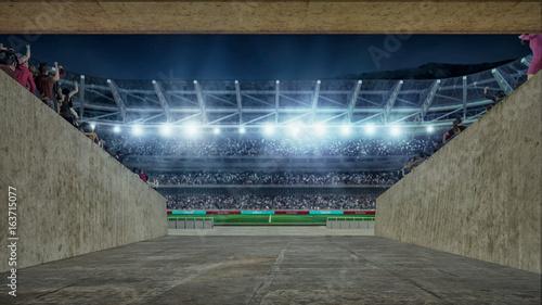 Obraz na płótnie boisko do piłki nożnej ze światłami i widmami Widok renderowania 3D od wejścia do korytarza