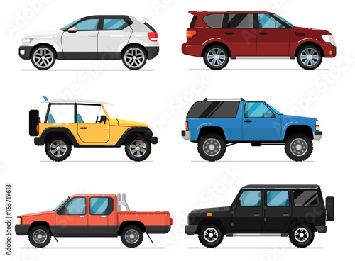 Obraz Modern city car set. Hatchback, universal, pick up, van, off road truck, suv isolated vector illustration on white background. Comfortable auto vehicle, side view people city transport in flat design. - fototapety do salonu