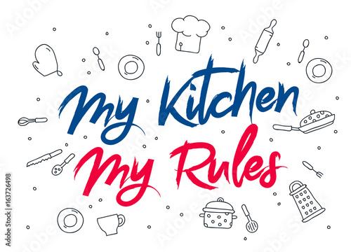 Cuadros en Lienzo Inscription My kitchen - my rules