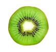 canvas print picture - Slice of kiwi isolated on white background, top view