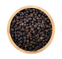 Black Pepper In Wooden Bowl Isolated On White Background