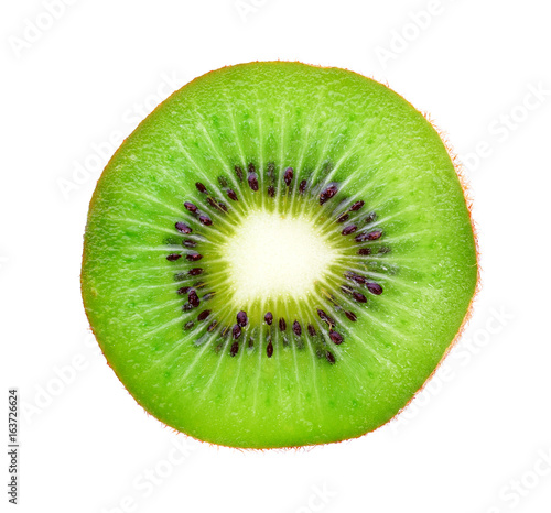 Obraz na plátně Slice of kiwi isolated on white background, top view