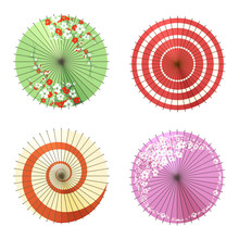 Asian Umbrellas Isolated On Wh...