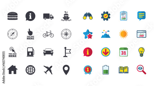 Set Of Navigation And Gps Icons Windrose Compass And Burger Signs