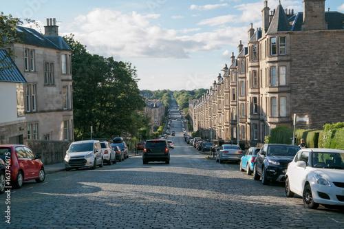Staande foto Havana Hilly road with cars in Edinburgh Scotland