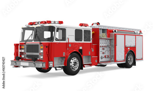 Canvas Print Fire Rescue Truck Isolated