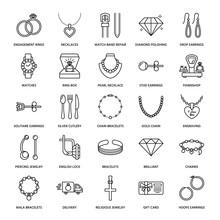 Jewelry Flat Line Icons, Jewel...
