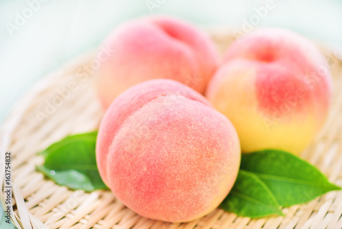 Fresh Peaches on Japanese Zaru Basket