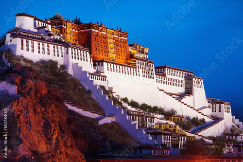 Tela Potala Palace in Lhasa, the former residence of the Dalai Lama, Tibet, China, Asia, night horizontal view
