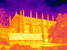 Thermal Image Of Christ Church Cathedral, Oxford, England, UK