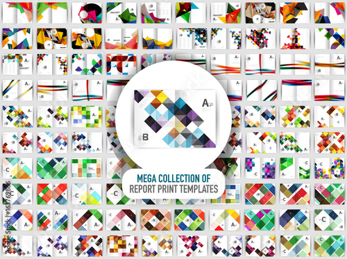 Valokuva Mega collection of 100 vector annual report print templates