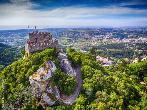 Sintra, Portugal: aerial top view of the Castle of the Moors, Castelo dos Mouros Wallpaper Mural