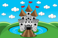 Cartoon Castle With Lift Bridg...
