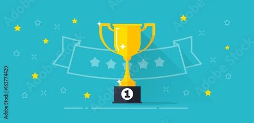 Fotografía  Winner award banner vector illustration, flat cartoon trophy golden cup with fir