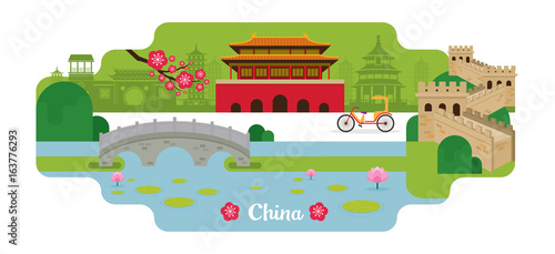China Travel and Attraction Landmarks Wallpaper Mural