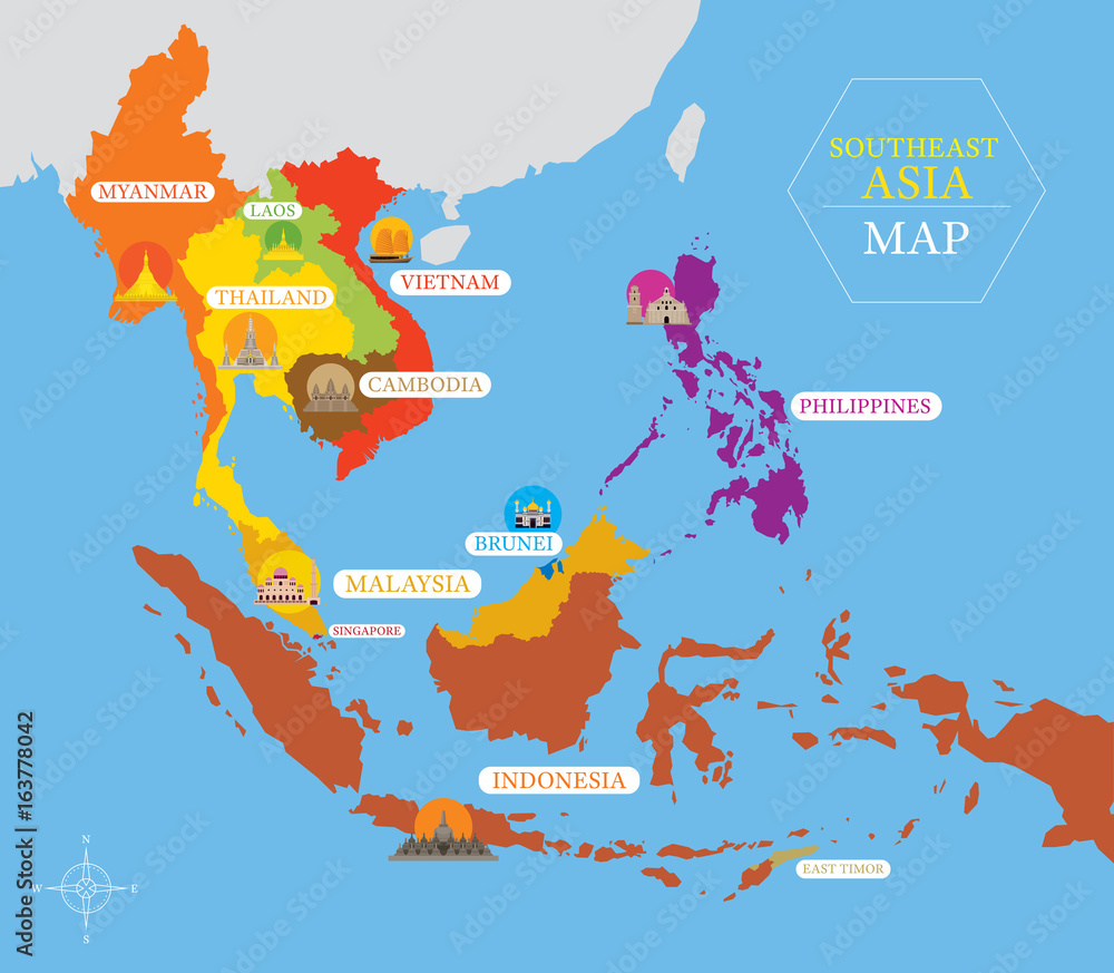 graphic relating to Printable Map of Southeast Asia called Photograph Artwork Print Southeast Asia Map with State Icons and